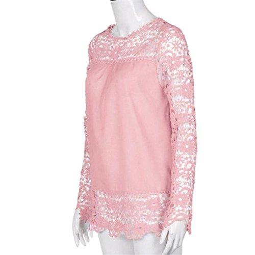 shirt T Lunga Ricamo Bluestercool Elegante Pizzo Manica Rosa Blusa Donna Z5U41H4