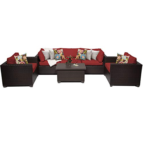 Terra Patio Furniture - TK Classics 6 Piece Belle Outdoor Wicker Patio Furniture Set, Terracotta 06b