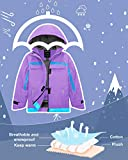 Wantdo Girl Warm Rain Jacket Windproof Thick Hooded Winter Jacket 4/5 Purple