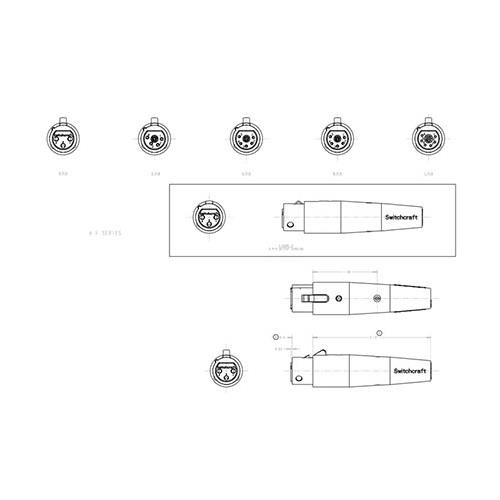 XLR Audio Connector, 5 Contacts, Jack, Cable Mount, Silver Plated Contacts, Metal Body, A Series ()