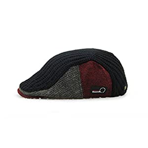YCHY Men's Knitted Wool duckbill Hat Warm Newsboy Flat Scally Cap (Black)