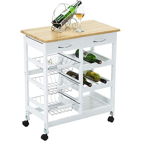 Mecor Kitchen Island Cart Trolley Portable Rolling Storage Table with Drawers & Baskets,White