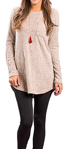 Newchoice Womens Plus Size Casual Basic Loose Pockets Long T-Shirts Long Sleeve Tunic Tops