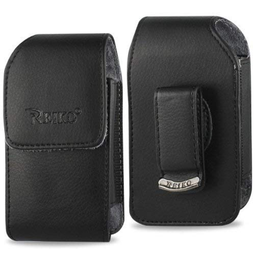 Vertical Leather Case with Magnetic closure with belt clip for AT&T LG b470 flip phone ()