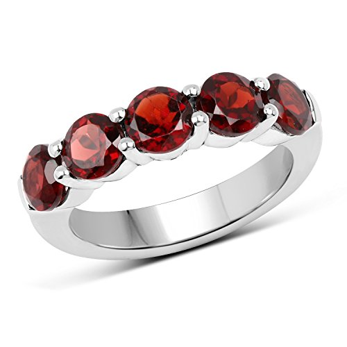 2.93 Carats Genuine Garnet Five Stone Ring Solid .925 Sterling Silver With Rhodium Plating ()