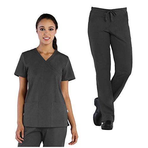 (Tru Basic Womens Mock Wrap 2-Pocket Top 10103 & Half Elastic Drawstring Pant 90102 Scrub Set (Pewter, Medium))