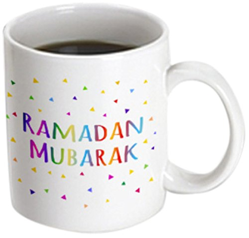 3D Rose mug_202099_3'' Ramadan Mubarak - blessing for the start of Muslim fasting festival Magic Transforming Mug, 11oz, Black/White by 3dRose