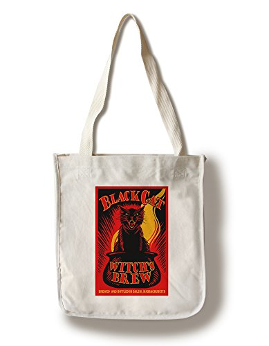 Salem, Massachusetts - Black Cat Witch's Brew (100% Cotton Tote Bag - - Massachusetts Shopping Salem