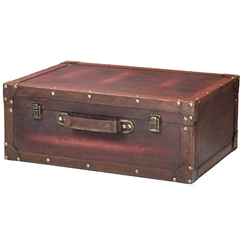 Antique Leather Luggage (Vintage Style Brown Wooden Suitcase with Leather Trim)