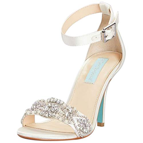 - Embellished High Heel Sandals with Ankle Strap Style SBJUNO, Ivory, 7.5