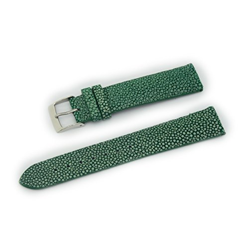 CASSIS GALUCHAT Caoutchouc Genuine Stingray Leather Waterproof Lining Watch Strap 18mm Green with Tool U0066G48074018
