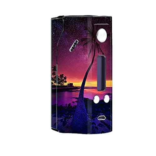 Skin Decal Vinyl Wrap For Wismec Rx200 Reuleaux Vape Mod   Palm Tree Stars And Sunset Purple