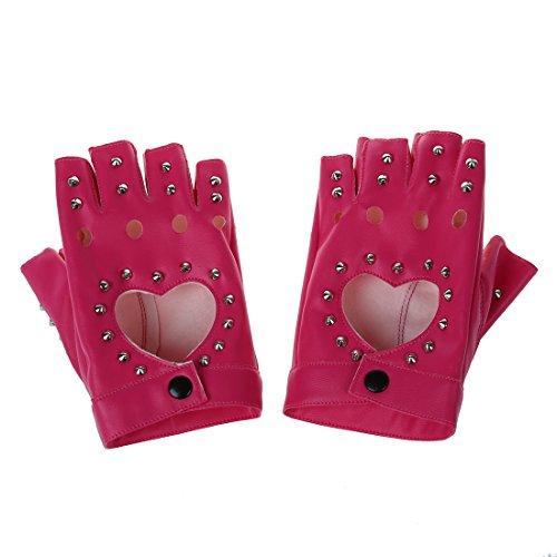SODIAL レディース女性PUレザー皮革 リベットノーフィンガー指なしグローブ手袋 ピンク