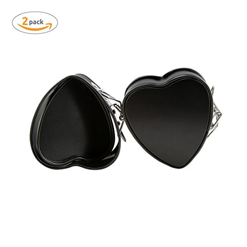 2 Pack Heart Springform Pan,AOGVNA 4 Inches Heart Shape Mini Bakeware Cake Pan Non-Stick Cheesecake Pan Mould With Drop Bottom Bake Tools (Heart Springform Pan)