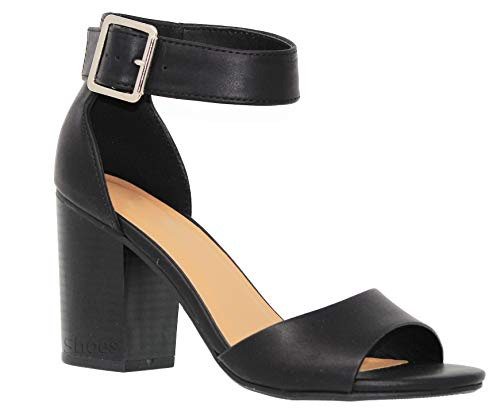 MVE Shoes Women's Ankle Strap Block Heeled Sandal - Open Toe Summer Heeled Sandals - Comfy Stacked Heeled Shoes, Black pu Size - Bootie Black Suede Ankle Buckled