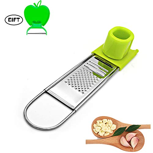 - Garlic mincer,Garlic grater,Ginger grater, Protection finger grater,Manual ginger garlic slicer, Stainless steel vegetable slicer, Garlic slicer, Garlic chopper, 1 Free Peeler as bonus, by Veizn