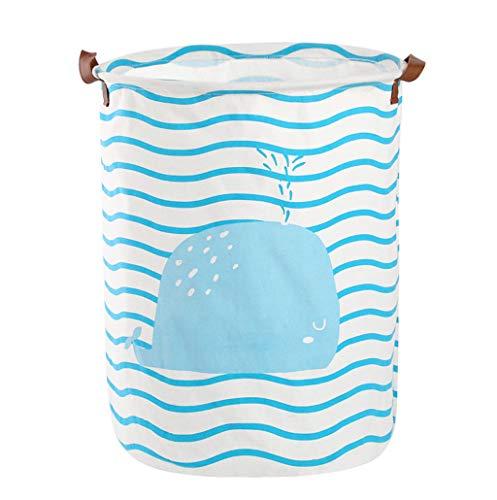 ❤️Jonerytime❤️Cotton Linen Waterproof PE Coating Sundries Toy Basket Storage Folding Storage Box Blue (C)