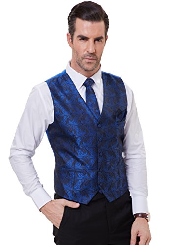 PAUL JONES Men's Paisley Tux Vest Tie Handkerchief 3-Piece Set for Suit Tuxedo