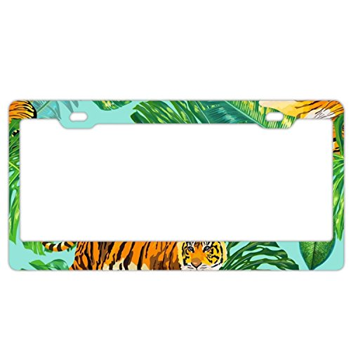 - EXMENI Tigers In Tropical License Plate Frame Theft-proof Frames Stainless Steel Board Frames
