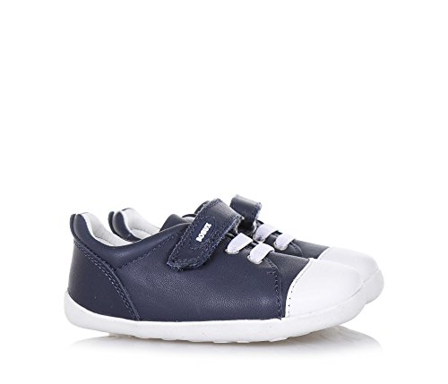 BOBUX - Chaussure Step Up Scribble bleue en cuir, made in New Zealand, avec fermeture en velcro, lacets élastiques, bébé garçon