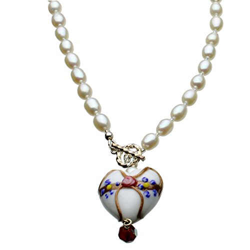 Joyful Creations White Murano-style Glass Heart Freshwater Cultured Pearl Lariat Toggle Necklace