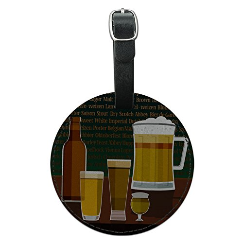 Pilsner Lager (Graphics & More Beer Glasses Ale Pilsner Stout Lager Round Leather Luggage Id Tag Suitcase, Black)