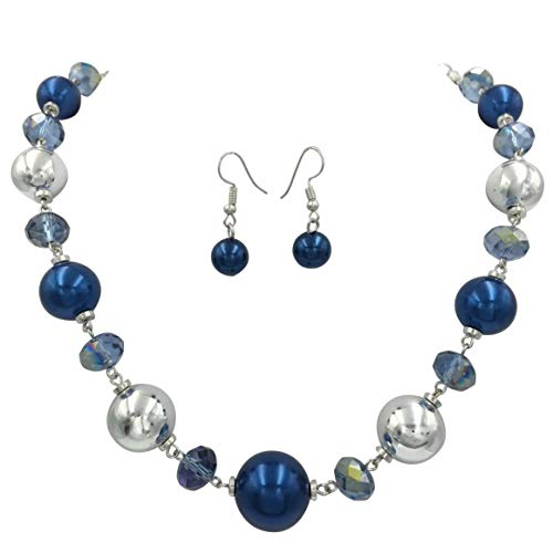 Gypsy Jewels Single Row Simple Beaded Statement Multi Color Necklace & Dangle Earrings Set (Metallic Blue & Silver Tone) - Silver Tone Beaded Necklace