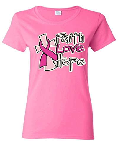 Faith Love Hope Women T Shirt Breast Cancer Awareness Shirts Medium Azalea Pink