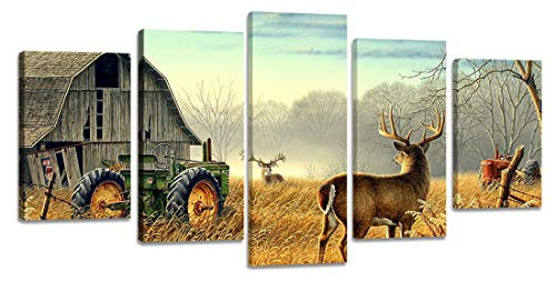 Ardemy Canvas Wall Art Rustic Landscape Cottage Reeindeer Animal Wildlife Painting 5 Pieces/Set, Vintage Farmhouse Country Pictures Framed Ready to Hang for Bedroom Living Room Home Office Decor