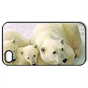 Bear family - Case Cover for iPhone 4 and 4s (Bears Series, Watercolor style, Black)