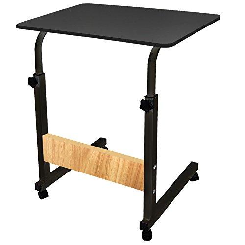 DL Furniture - Adjustable Height Laptop Desktop Table Stand, Over Bed Side Table with wheels   Metal Frame & Black Surface