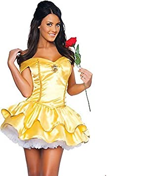New Ladies Yellow Satin Belle Beauty and the Beast Disney Costume ...