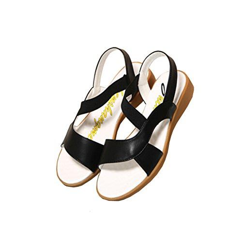 Hattie Women Elastic Strappy Leather Soft Flat Sandals Black eJWcg2