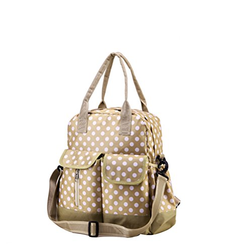 Vere Gloria Women Diaper Handbag Bags 3 Pieces/Set Polka Dot Multifunction Baby Nappy Backpacks (1-Apricot)