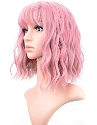 "VCKOVCKO Pastel Wavy Wig With Air Bangs Women's Short Bob Pink Wig Curly Wavy Shoulder Length Pastel Bob Synthetic Cosplay Wig for Girl Colorful Costume Wigs(12"", Pink)"