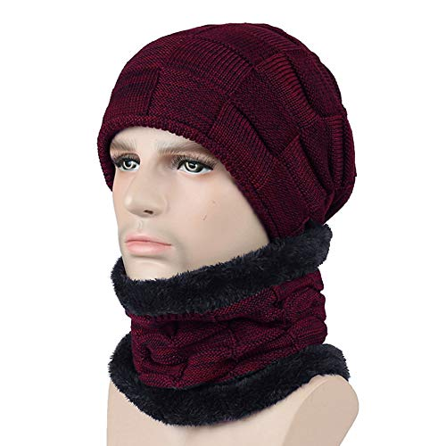 (Unisex Winter Beanie Scarf Set Warm Knit Hat Thick Neck Warmer Ski Skull Cap)