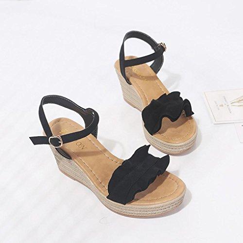 de Sandalias Sexy Peep Cuña Hebilla Logobeing Manera Negro Tacones Ruffle Correa Toe La Bombas Mujeres de Zapatos 8RqXO