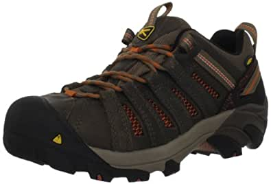 KEEN Utility Men's Flint Low Steel Toe Work Shoe,Shitake/Rust,7 EE US