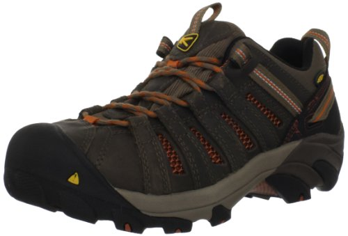 KEEN Utility Men's Flint Low Steel Toe Work Shoe,Shitake/Rust,10 D US