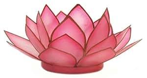 Om Gallery Capiz Shell Lotus Tea Light Holder, Flamingo