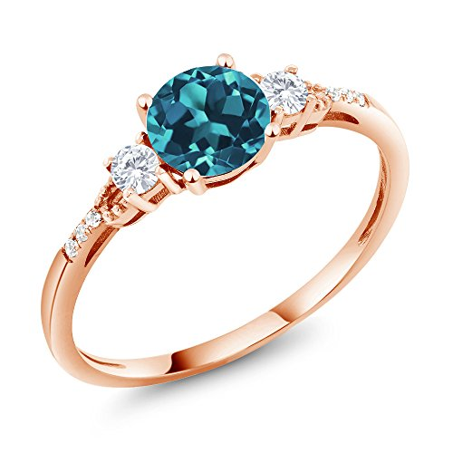 Gem Stone King 10K Rose Gold London Blue Topaz & White Created Sapphire Engagement Ring 0.89 Available in (Size 8) (London Blue Topaz And Diamond Engagement Ring)