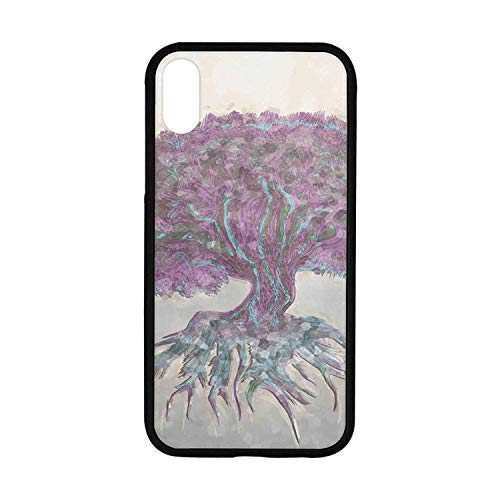 (Tree of Life Rubber Phone Case,Watercolors Style Print of Old Plant with Bokeh Lights Majestic Roots Nature Compatible with iPhone XR )