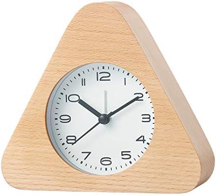 Artinova Desk Alarm Clock, Silent Clock with Nightlight for Home Bedroom Office, Beech Wood Made, ARTA-3036