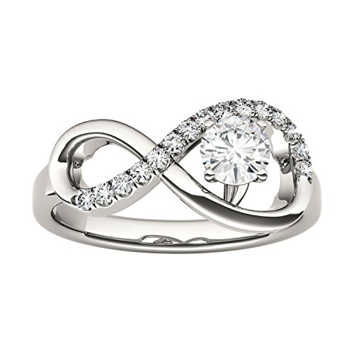 Forever Classic Infinity 4.5mm Round Moissanite Ring-size 8, 0.50cttw DEW By Charles & Colvard by Charles & Colvard