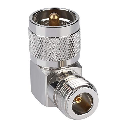 - Hakeeta UHF Angle 90° Crimp UHF Male to Female Angle Plug Suitable for All N-Type and UHF connectors Solid Connection coaxial Connector ABS 50Ω 1000 Times Life