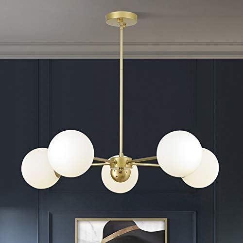 FERWVEW 5-Light Satin Brass Gold Modern Mid Century Ceiling Pendant Chandelier Fixture with White Glass Globe Shades, Sputnik Chandelier lamp for Livingroom Dinning Bedroom Foyer Entryway Hanging