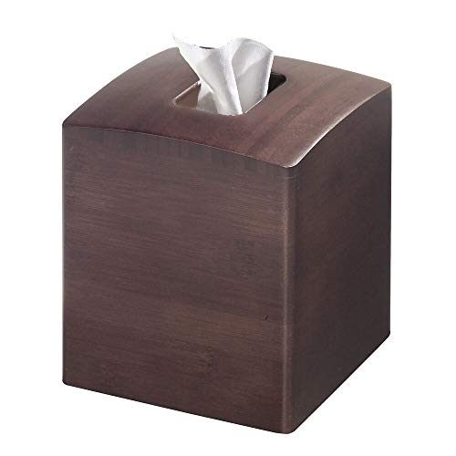 mDesign Square Bamboo Wood Facial Tissue Paper Box Cover Holder for Bathroom Vanity Counter Tops, Bedroom Dressers, Night Stands, Home Office Desks, Tables - Espresso -
