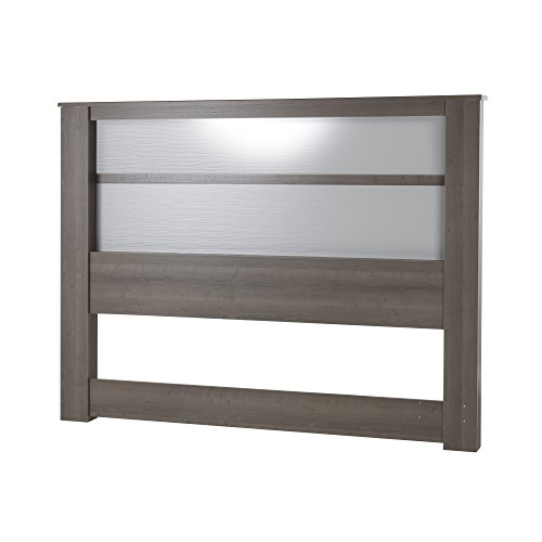 (South Shore Gloria Headboard with Lights, King 78-Inch, Gray Maple)