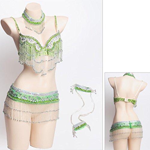 Colori Wqwlf Collare Tuta S Perline Per Manicotto Braccio Ventre Vestito Più Del Danza Reggiseno Frangia Con Di Professionale Donne s Cintura Green ggvwqrU