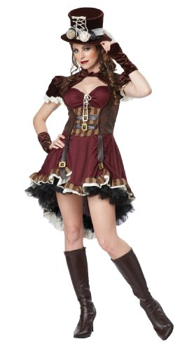 Female Steampunk Outfits (California Costumes Women's Steampunk Girl Adult, Burgundy/Brown,)